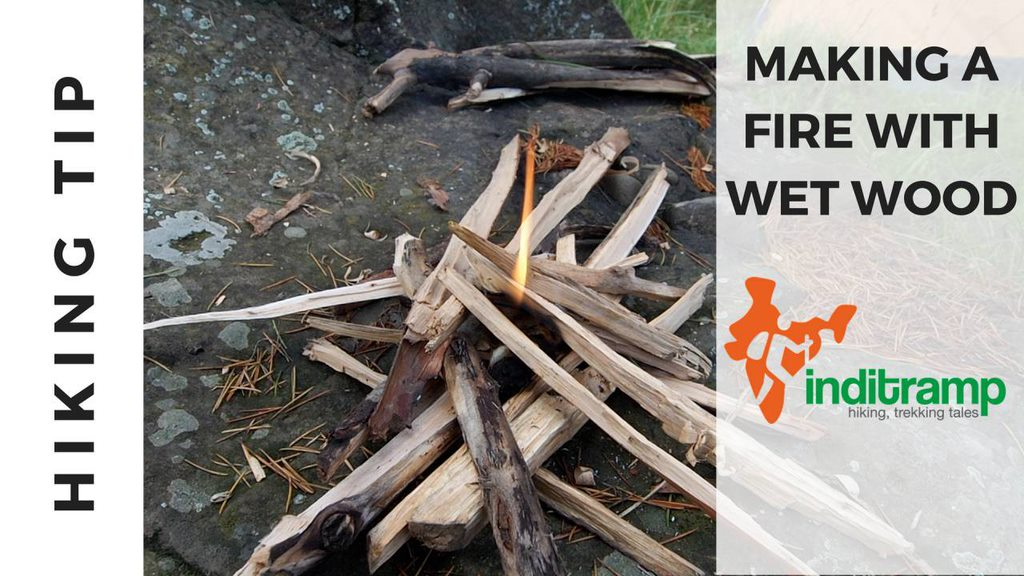Making a fire with wet wood